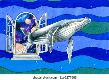 Illustration with a blue whale swimming through a door from space