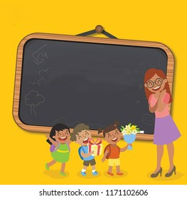 Illustration with board and kids.Teachers' Day is a special day for the appreciation of teachers, and may include celebrations to honor them for their special contributions in a particular field.