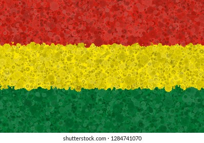 Illustration of a Bolivian flag with a blossom pattern