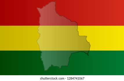 Illustration of a Bolivian flag with a contour of its borders