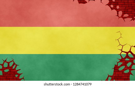 Illustration of a Bolivian flag, imitation of a painting on the cracked wall