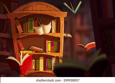 Illustration: The Book Palace. Realistic Fantastic Cartoon Style Artwork Scene, Wallpaper, Game Story Background, Card Design