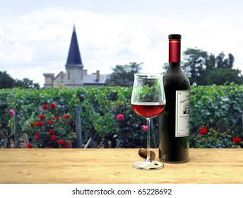 illustration of a bottle and a glass of fictitious Bordeaux red wine with a chateau in the background - the label on the bottle is fictitious.