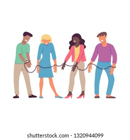 illustration of bound by one chain people forced to work or be together in flat style isolated on white background. Disgust and dislike of resigned men and women to each other.