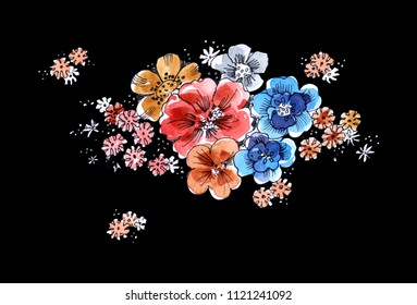 Illustration  bouquet flowers on a black background.