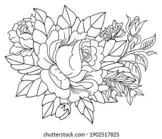 Illustration. Bouquet of roses with a butterfly. Tattoo. Coloring book. Antistress for adults and children. The work was done in manual mode. Black and white.