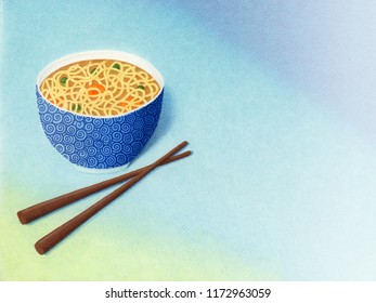 An illustration of a bowl of noodle soup with chopsticks. Mixed media marker pen and colored pencil.