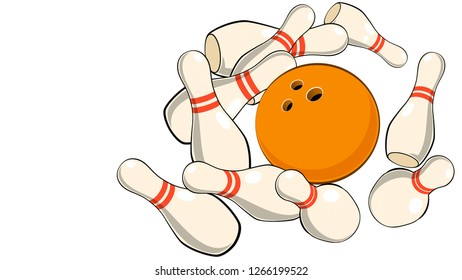 illustration of a bowling ball scatters the skittles for bowling on a white background