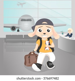 Illustration of a boy in airport