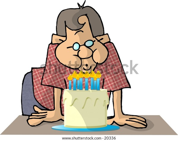 Illustration of a boy blowing out candles on a birthday cake.