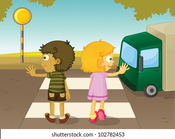 Illustration of boy and girl crossing the street - EPS VECTOR format also available in my portfolio.