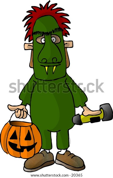 Illustration of a boy in a green monster costume.