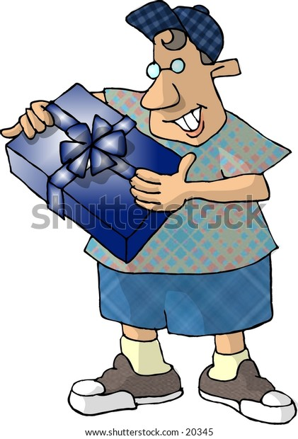 Illustration of a boy holding a wrapped gift.