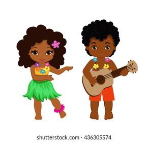 illustration of boy playing guitar and hawaiian girl hula dancing. Raster copy.