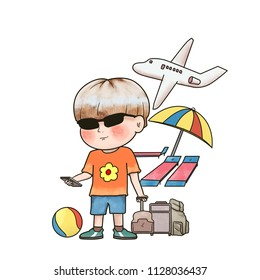 illustration a boy travling for summer holiday. hand drawn cartoon art style