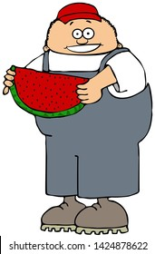 Illustration of a boy wearing overalls eating a large slice of watermelon with seeds.