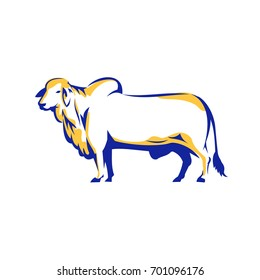 Illustration of a Brahman Bull Side View on isolated white background done in Retro style.
