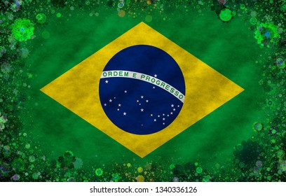 Illustration of an  Brazilian flag with a blossom pattern as a frame