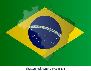 Illustration of a Brazilian flag with a coutour of its borders