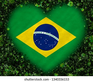 Illustration of a Brazilian Flag with a heart symbol