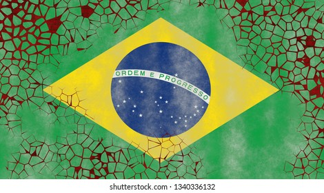 Illustration of a Brazilian Flag, imitating of painting on the old wall with cracks