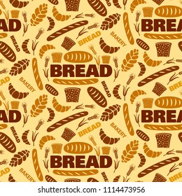illustration of bread and bakery seamless pattern background
