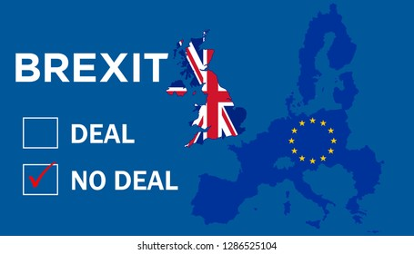 Illustration of Brexit referendum for United Kingdom to remain as a member of the European Union or leave the European Union. The UK is thus on course to leave the EU on 29 March 2019. No Deal.