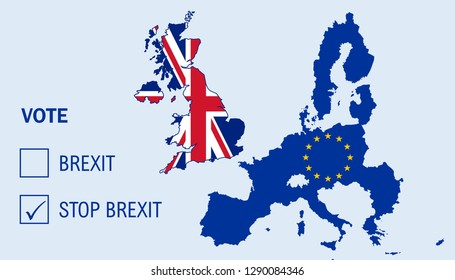 Illustration of Brexit referendum for United Kingdom to remain as a member of the European Union or leave the European Union. The UK is thus on course to leave the EU on 29 March 2019. Stop Brexit
