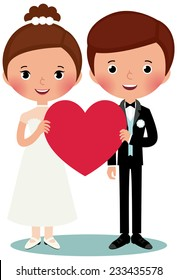 Illustration of bride and groom on a white background are holding heart/Groom and bride/Groom and bride are holding heart
