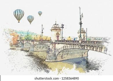 illustration Bridge over the Vltava River in Prague, Czech Republic. Hot air balloons are flying in the sky.