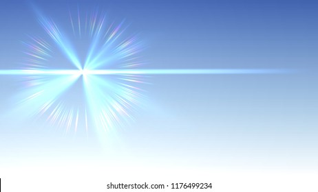 Illustration of bright blue ligth with rainbow halo on blue gradient sky background