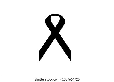 Illustration Bright colorful Black Ribbon icon/symbol/silhouette on white background - For Charity against Cancer, illness and diseases -  Health and support care - Awareness campaign