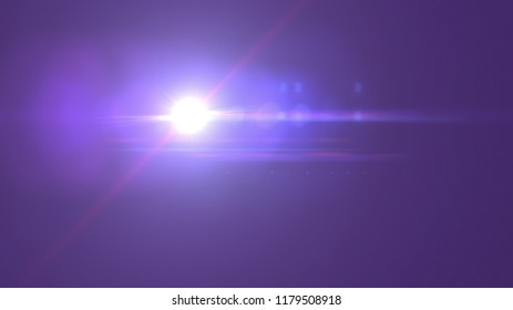 Illustration of bright glowing white light with lens flaers and bokeh on purple background