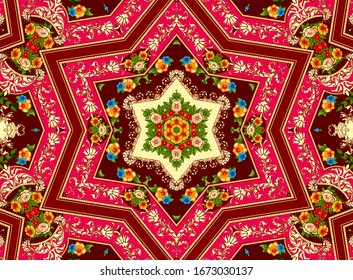Illustration of a bright multicolored carpet with floral ornaments