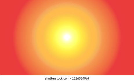 Illustration of bright but soft sun or light with glow and soft rainbow colored halo on circular gradient red to yellow background