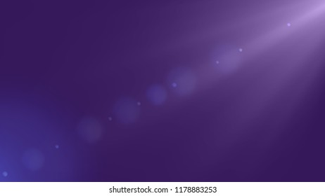 Illustration of bright white spotlight with bokeh from upper right on dark purple backround