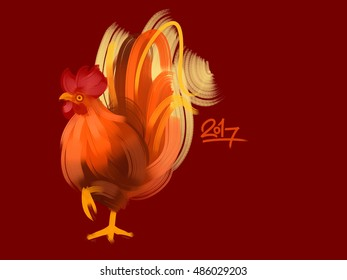 Illustration of the bright-colored rooster. Isolated on a red background.