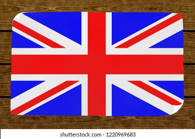 Illustration of a British flag on the papier pasted on the woody wall