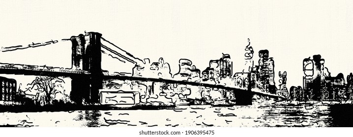 Illustration of the Brooklyn bridge of New York with texture