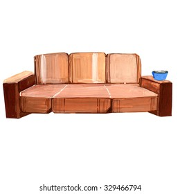 Illustration of a brown sofa