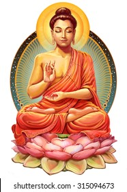 Illustration with Buddha in meditation. Raster illustration