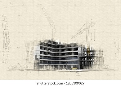 Illustration of Building under construction with blueprints, bank forms, energetic efficiency charts, and a calculator