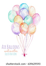 Illustration with a bundle of watercolor air balloons, hand drawn isolated on a white background