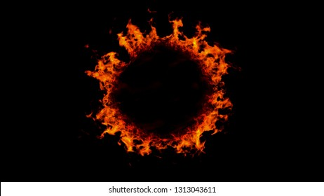 Illustration of a burning black hole sun with ring of fire