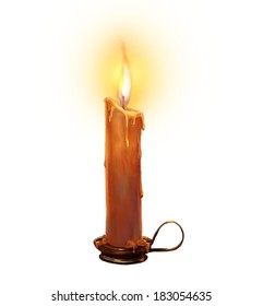 Illustration with burning candle on a white background.