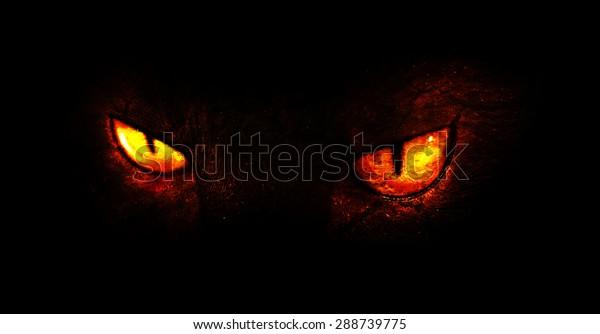 Un'illustrazione di occhi demoniaci brucianti.