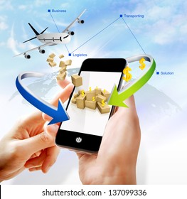 Illustration of business logistics on mobile