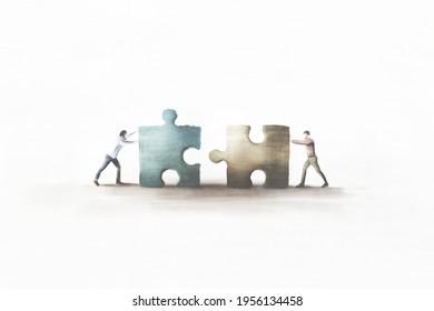 Illustration von Geschäftsmännern in Teamarbeit mit Puzzle, Kooperationskonzept