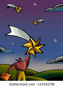 An illustration of a businessman reaching for a star