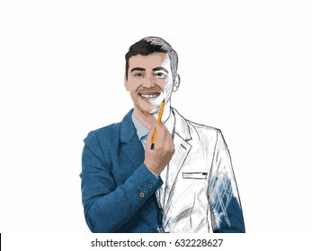Illustration of a businessman smiling and holding a pencil pointed to his face trying to draw a sketch of his emotion. Create yourself idea, self development concept isolated on white.